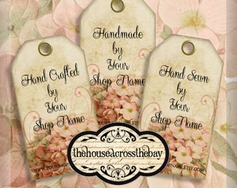 Printable Hydrangea Shop tags | Customized Business tags | Product tags | Shop Labels | Hang Tags | Your Message and Shop Name | Digital Tag