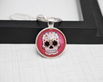 Dia de los Muertos, Sugar Skull Keychain, Day of the Dead Keychain, Skull Keychain, Sugar Skull, Pink Keychain, Key Ring, Cabochon Keychain