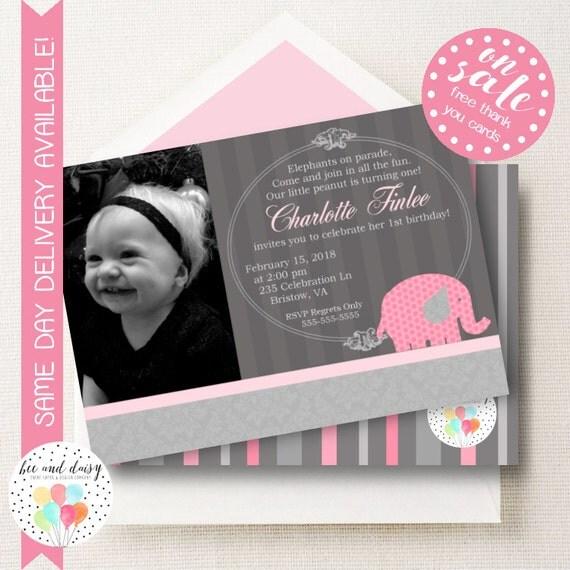 Pink Elephant Invitation, Elephant Birthday Invitation, Elephant Party, Girl First Birthday, Girl Birthday, Elephant Invite, Photo Invite