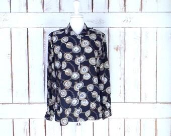 Vintage Ann Taylor Studio black silk clock/watch/time print button down blouse/chain print silk shirt/10