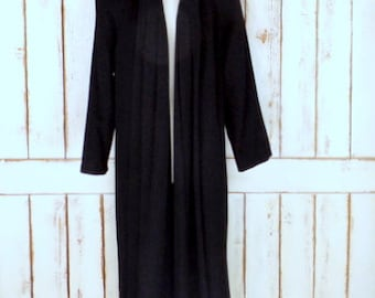Vintage Kristen Blake black long wool winter coat/black wool overcoat/wool opera coat