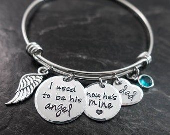 Charm Bracelet / Wire Bangle / I used to be his angel how he's mine / In memory of Dad / Personalized / Memorial Jewelry / Remembrance