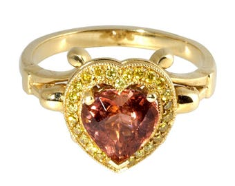 Skull Heart Peach Tourmaline Ring
