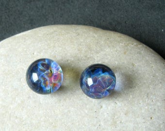 Cosmic Globe Cabochon Set - 9mm Lampwork Glass- Jewelry Making Supply