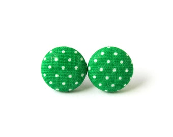 Small green earrings - light green polka dots button earrings - fabric stud earrings - pin up earrings
