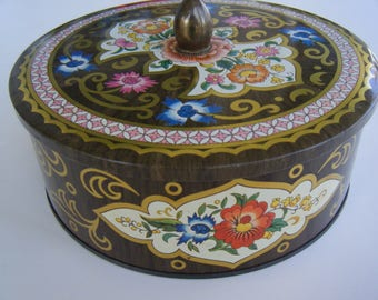 Daher round tin brown floral Long Island NY designed made in England
