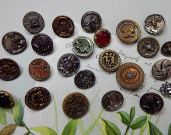 24 Victorian Metal Miniature Picture Antique Buttons  Lot 2    NDT29