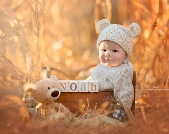 Teddy Bear Boy Hat, Teddy Bear Hat, Baby Boy Hat, Baby Girl Hat, Cream with Ears. Handmade Hat, Great for Photo Props. Baby Shower Gift.