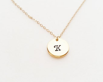 Initial Necklace // Engraved Initial // 14kt Gold Initial // Hand-Stamped Engraved Letters // Circle // Custom Necklace // Layering Necklace