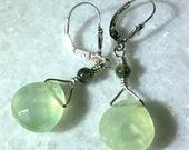 HOLD FOR LYN Elegant Green Prehnite Briolette and Sterling Earrings // Art Deco Sterling Earwires // Gemstone Earrings
