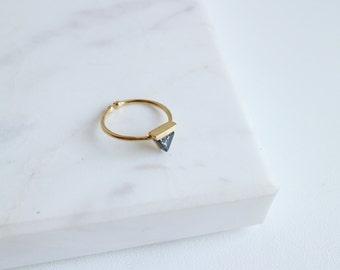 Black Marble Stone Ring, Black Stone Ring, Geometric Jewellery, Triangle Ring