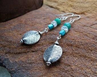 moonstone earrings. AQUARIUS earrings. Kingman Arizona turquoise earrings. natural stone earrings. December birthstone. silver earrings.