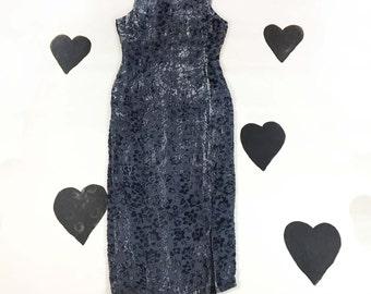 90's gray rose floral burnout velvet evening gown dress 1990's minimal column slate sleeveless shimmery grey floral maxi long dress 12 L XL