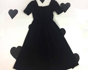 80's Laura Ashley gothic Lolita tea party prom dress 1980's black velour velvet open bow back cutout full skirted princess Dress / M 6 8