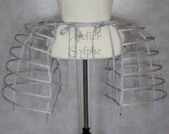 Two pieces worn together double pannier silver ribbon and lacing Crinoline long cage hoop bustle