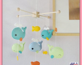 Baby Crib Mobile, Neutral Mobile, Whale Mobile, Little Whale Crib Bedding, Aqua Orange and Teal Nursery