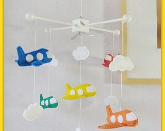 Airplane Mobile, Jumbo Jet Nursery Decor, Baby Crib Mobile, Baby Boy Mobile, Rainbow Color Mobile, Red Orange Yellow Crystal Blue