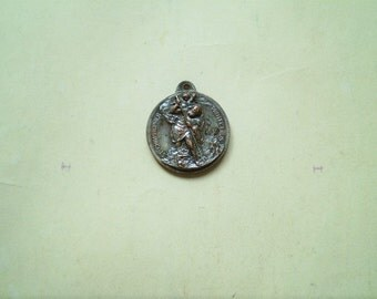 St. Christopher & Guardian Angel - Vintage Medal or Pendant - Round - Metal - Be My Guide - Catholic - Holy Charm - Travel Protection