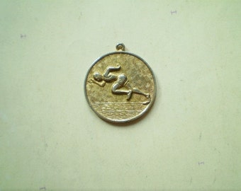 Vintage Track and Field Medal - Award - Running - Round - Gilt Metal - Athletic Sports Pendant
