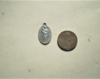 Notre Dame des Affliges - Vintage French Belgian Medal or Pendant - Oval - Metal - Our Lady - Wanfercee Baulet - Catholic - Holy Charm
