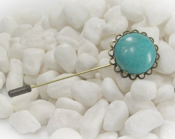 Shawl Pin Cardigan Pin Scarf Pin Bronze Pin Turquois Pin Stick Pin Hijab Pin Sweater Pin Coat Lapel Pin  - 16194