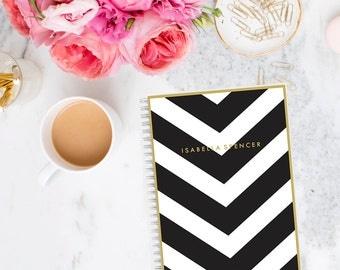 Notebook Personalized Monogram Custom Stationery V Stripe  Journal Black White Goals Planner
