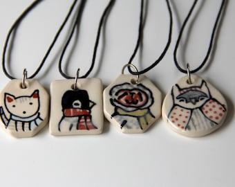 Sloth Necklace Handmade Ceramic Pendant on 16 inch Waxed Cotton Cord Sloth Illustration Cute animal themed Jewelry Gifts under 20