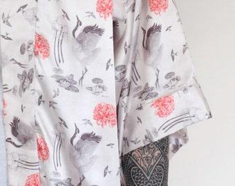 Japanese Crane Silk Kimono