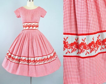 Vintage 50s Dress / 1950s Cotton Sundress Red White GINGHAM EMBROIDERED Floral Border Full Swing Skirt Garden Picnic Party Pinup XS Small