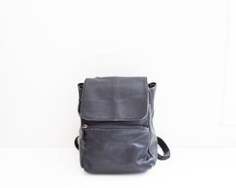 black leather satchel cargo small backpack hipster bag