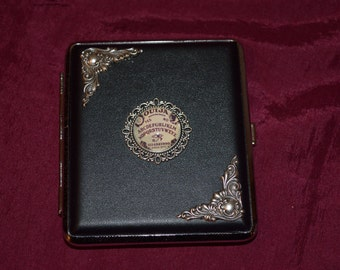 Ouija Board black faux leather Gothic cigarette case / wallet / card holder