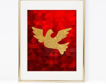 Dove Printable, Red and Gold Glitter Wall Art, Christmas Art Print, Holiday, DIY Printable, INSTANT DOWNLOAD