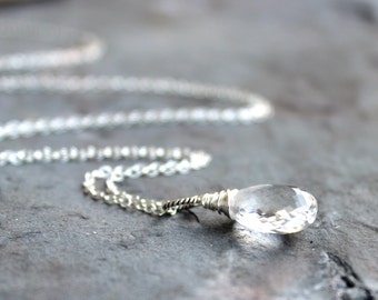 Ice Quartz Necklace Sterling Silver Crystal Quartz Teardrop, April Birthstone, Pendant Necklace