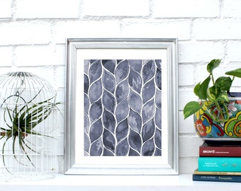 """Printable wall art, """"leaves"""" watercolor,poster,Instant Download,wall decor,5 different sizes for the price of 1.Home decor."""