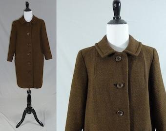 60s Brown Wool Coat - Pendleton - Classic Demure Style - Vintage 1960s - M