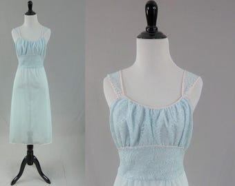 60s Baby Blue Lace Top Nightie - Pastel Pink Trim - Sheer Nylon - Vintage 1960s - S 34