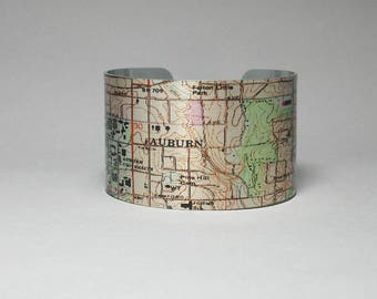 Cuff Bracelet Auburn Alabama Map Unique Hometown City Student Graduation Gift for Men or Women