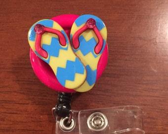 Nurse badge reel, nurse badge holder, gift for nurse, flip flop badge reel, retractable badge reel, flip flop badge holder, medical badge