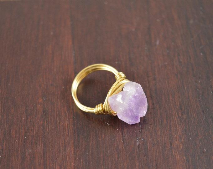 Amethyst Ring, Raw Crystal Ring, Amethyst Jewelry, Amethyst Crystal Ring, Amethyst Ring