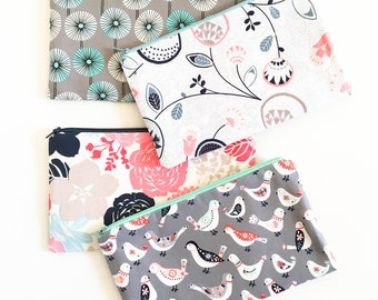 Personalized Graduation Gift, Floral Zipper Pouch, Pencil Case, Bird Pencil Pouch, College Teens, Gift for Women Aqua Grey Coral Organizer