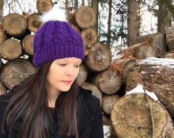 Purple With White Fur Pom Pom Crochet Cable Hat, Fits Teens to Women,purple hat, Fur Pom, Winter Beanie, Photo Prop