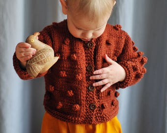 Baby / Toddler  Girls Boys Hand Knitted Brown Bobbles Popcorn Merino Sweater Cardigan Baby Shower Gift 0-3-6-9-12-18-24 months 2T 3T 4T 5T 6
