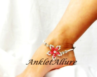 Coral Flower Anklet Ankle Bracelet Rhinestone Body Jewelry Beach Wedding Foot Jewelry