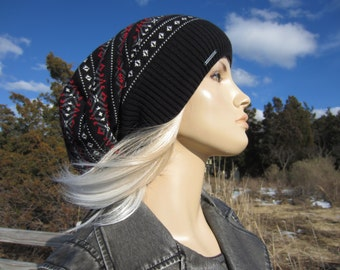 Oversized Dread Tam Hat Big Baggy Cotton Knit Slouchy Beanie Fair Isle Dreadlock Tam  Black Gray Red Winter Hat  A1880