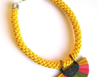 The Sun large chunky statement necklace colorful geometric polymer clay bib necklace in pink green and yellow hues