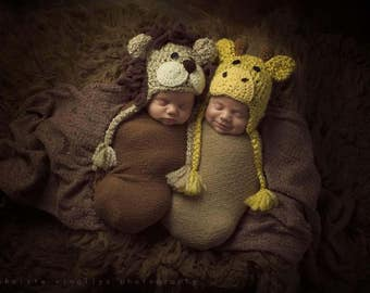 Twin Hats  - Baby Lion and Giraffe Hats - Twin Costume Hats - Baby Shower Gifts - by JoJosBootique