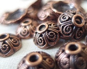 24 Copper Plated Bead Caps Alloy Metal, 9mm diameter, 4mm tall, 2.5mm hole