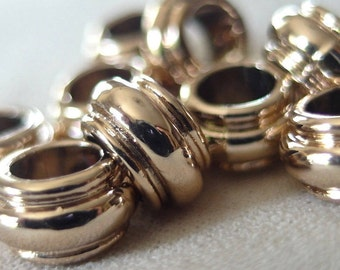 10 Light Gold Non-Tarnish Rondelle Spacer Beads, 12mm x 6mm, 6mm hole,  pkg 10 pieces