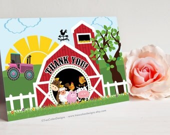 Printable Thank You Cards - Barnyard Animals - GIRL- Pink Tractor - Also for Baby Shower - NON Personalized - Instant Download