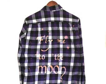 """Frank Sinatra Shirt """"Fly Me to the Moon"""" Purple Plaid Flannel. Song lyrics quote space universe hipster grunge music ooak acid wash clothes"""